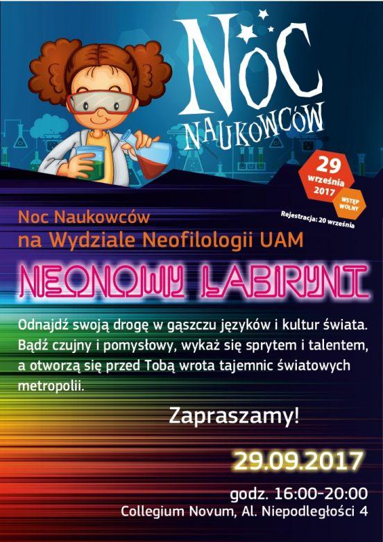 Plakat - Noc Naukowców na Wydziale Neofilologii